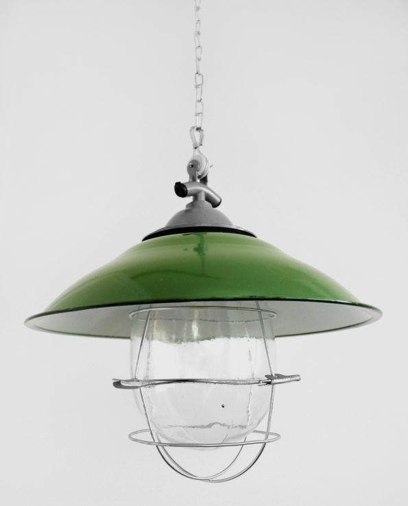 French Larder (Green) This traditional french style light shade adds a rustic chic feature to any setting. It comes with a steel protective cage surrounding an oversized glass bulb for an authentic industrial look.