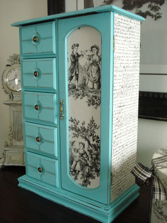 Large Vintage Upcycled Hand Painted and Decoupaged Jewelry Box Tiffany Blue WANT