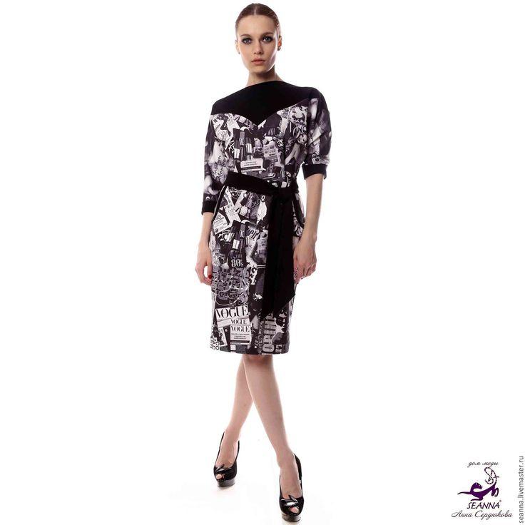 """Купить Эффектное платье из натурального джерси """"Журналы с брендами с поясом"""" - платье, красное платье"""