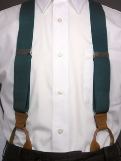Hunter Green Y-Back Button Suspenders