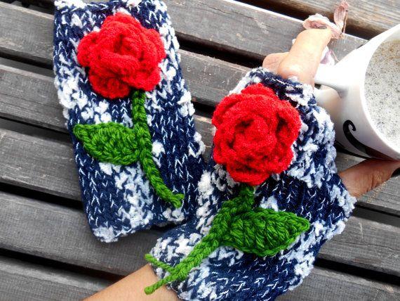 Women Knitted Gloves, Mittens Gloves, Hand Knitted Gloves, Crochet Fingerless, Knitted Hand Warmer, Fingerless Gloves, Navy Knitted Gloves