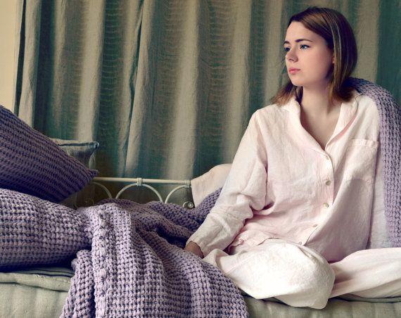 Dusty Pink linen women pyjama set. by HouseOfBalticLinen on Etsy