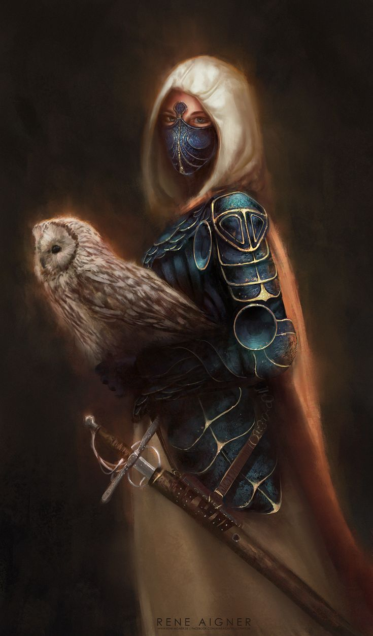 Master of Birds by ReneAigner female fighter paladin ranger knight owl familiar swordmage platemail scalemail armor clothes clothing fashion player character npc | Create your own roleplaying game material w/ RPG Bard: www.rpgbard.com | Writing inspiration for Dungeons and Dragons DND D&D Pathfinder PFRPG Warhammer 40k Star Wars Shadowrun Call of Cthulhu Lord of the Rings LoTR + d20 fantasy science fiction scifi horror design | Not Trusty Sword art: click artwork for source