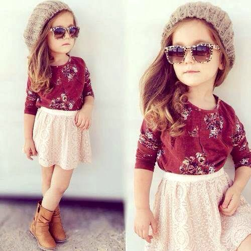 Love the floral shirt paired with a cream skirt and booties, the hat and glasses top off this look perfectly | #kidstylin