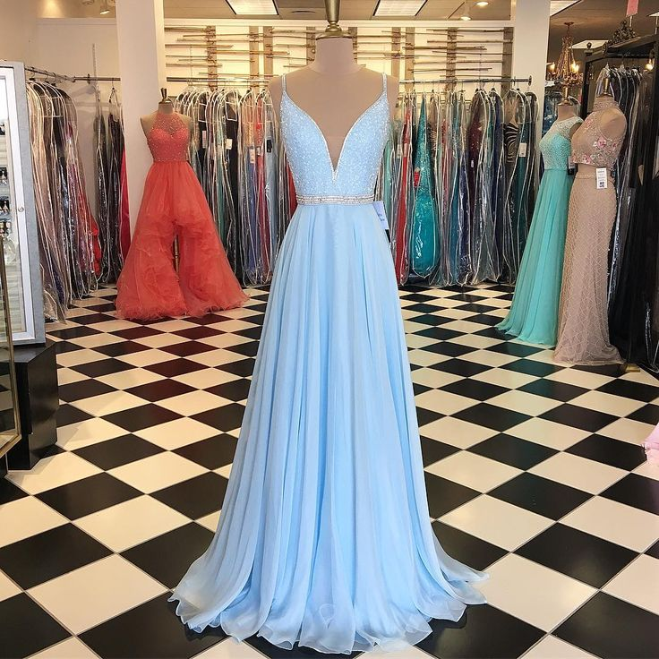 baby blue prom dress,chiffon prom dress, long evening gowns