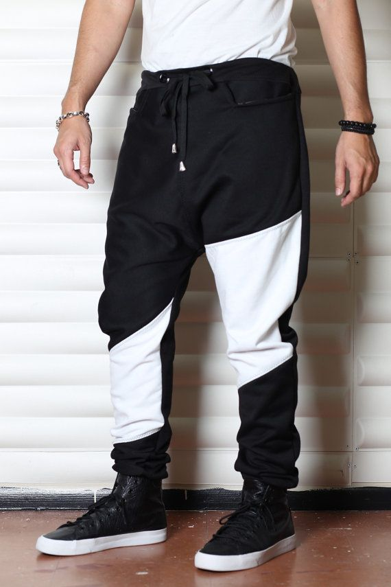 Black and White Sweatpants Mens Joggers or Drop by C4DApparel http://junqcouture.co.uk
