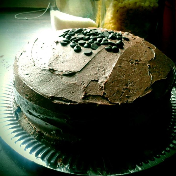 Triple chocolate cake = choc sponge with choc chips and chocolate frosting