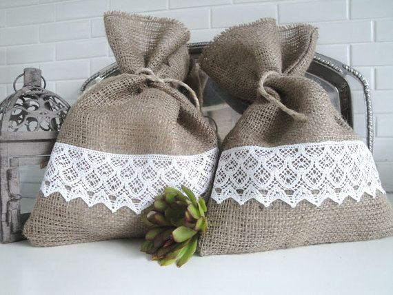 Burlap Gift Bag with Lace