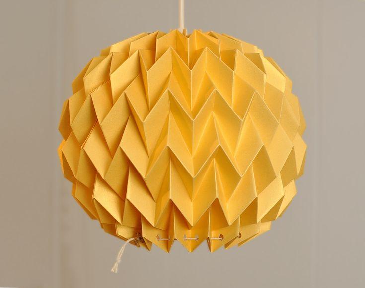 Bubble: Origami Paper Lamp Shade / Lantern - GOLD YELLOW. $40.00, via Etsy.