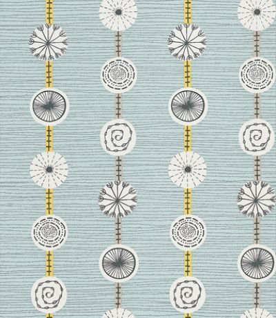Atomic (210237) - Sanderson Wallpapers - A fun medallion design with patterned discs suspended on strong vertical lines against a loosely drawn horizontal line. Shown in the pebble blue and yellow. Other colourways available.  Please request sample for true colour match.