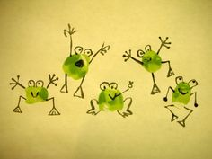 "Thumbprint funny frogs >> So cute! Would be great for a homemade birthday card with ""Hoppy Birthday!"" on the inside."