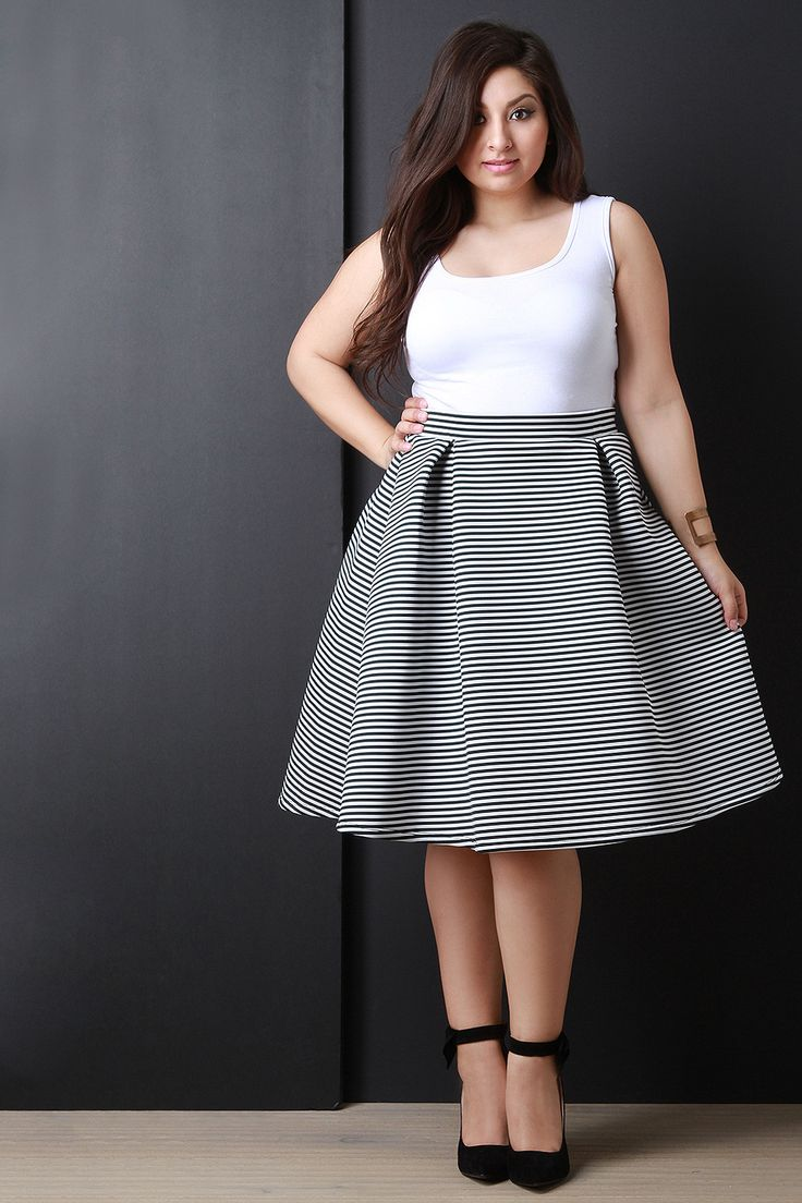 Description This cute  plus size skirt  features a double knit fabrication, box pleat details, a midi length hem and a skater skirt silhouette. Accessories sold separately. Made in U.S.A. 95% Polyester 5% Spandex.     Measurement     Size  Waist  Hip  Length      1X  16.5  30  24.5      2X  17.25  31  25      3X  18  32  25.5     | Shop this product here: spree.to/acdc | Shop all of our products at http://spreesy.com/Diva_styles    | Pinterest selling powered by Spreesy.com