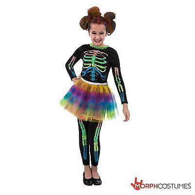 #Girls skeleton fancy dress costume with neon tutu #great for #halloween,  View more on the LINK: http://www.zeppy.io/product/gb/2/371676290876/