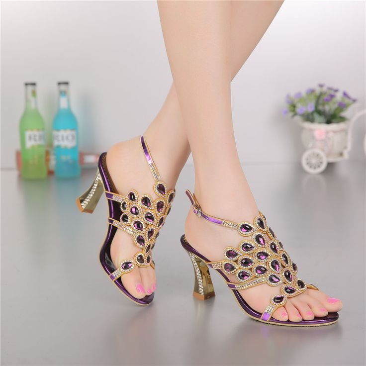 ==> [Free Shipping] Buy Best Korean Style Diamond Crystal Luxury Sandals High Heels Roman Womens Purple Evening Shoes Plus Size 11 Fashion 2017 Summer Online with LOWEST Price | 32676268507