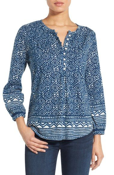 Lucky Brand Geo Border Print Henley Top available at #Nordstrom