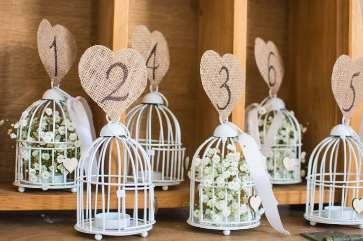 Wedding Table Numbers Signs on Cute Metal Mini Bird Cages with Hessian Hearts