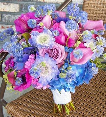 Purple and blue Flower Bouquet...unique!