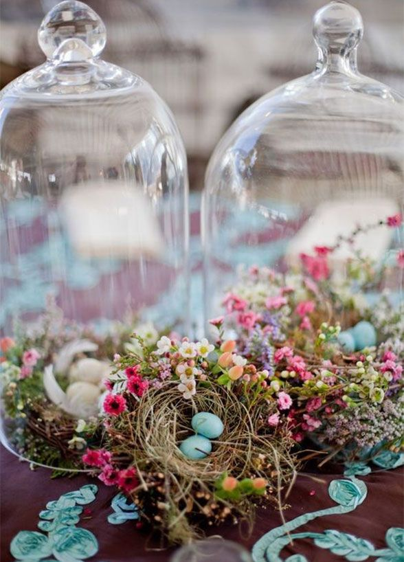 10 Spring Wedding Trends:  4. Wonderful Woodland Animals. Bell jars of bird nests, moss covered bunnies, and baskets of bird eggs are just darling decor. http://www.colincowieweddings.com/inspiration-and-details/10-spring-wedding-trends-for-the-floral-lover