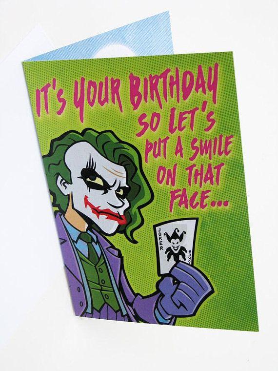 Joker Birthday Card Professional Quality The Dark Knight Heath Ledger Greeting Card 5 X 7 Funny Batman Card Cards Batman Funny Birthday Cards