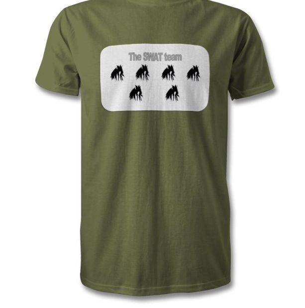 The Swat team on military green. Order yours today.