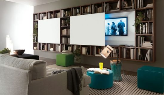 schiebe paneele flexible wandregal systeme von lema: Modern Furniture, Architecture Bookshelves, Living Rooms, Categori Thumbnail, Sequoia Living, Interiors Design, Tv Rooms, Libraries Rooms, Sliding Doors