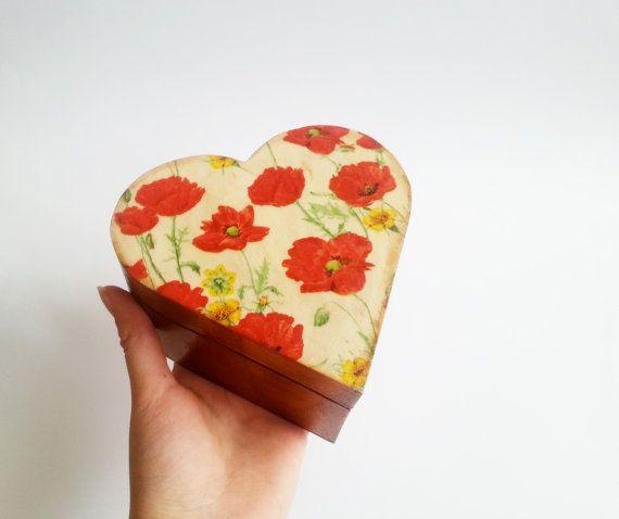 Trinket heart box decoupage poppies flowers keepsake box small box