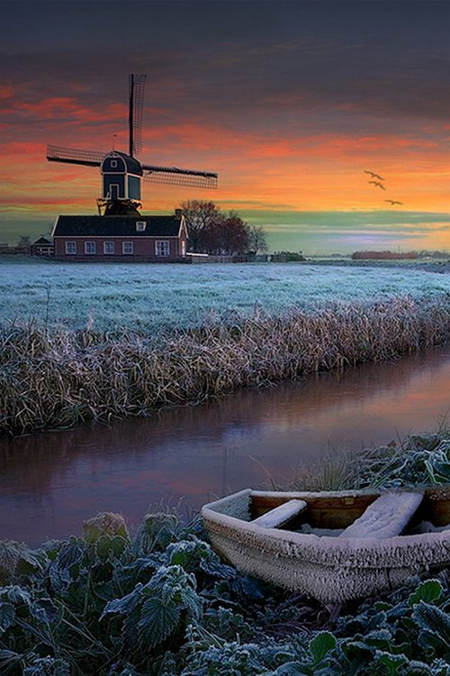 Frosty field and windmill at sunrise, The Netherlands (by Wim Lassche on 500px)