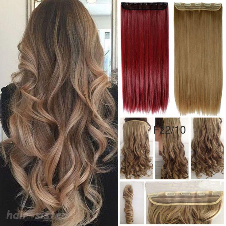 Semua Warna Panjang Keriting/Bergelombang Rambut ekstensi 100% Nyata Tebal tahan Panas Klip dalam Ekstensi Rambut manusia Hitam Coklat pirang Merah