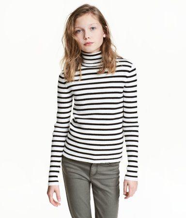 Ribstrikket rullekravetrøje | Sort/Hvidstribet | Børn | H&M DK