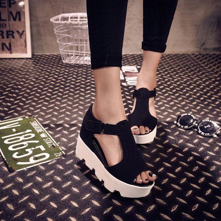 Mujer 2015 zapatos antideslizantes sandalias de plataforma del dedo del pie abierto de la cuña sandalias mujeres de moda hebilla sandalia sapato feminino cuñas