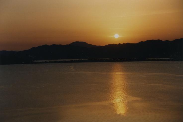 天橋立の美しい夕日。