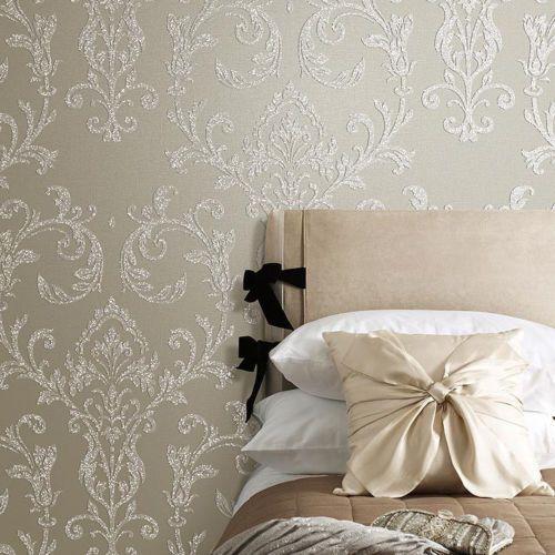Luxury Beige Damask Embossed Shining Sand PVC Free Wallpaper Sample Available! | eBay