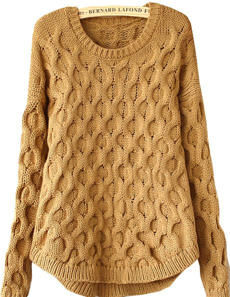 Khaki Long Sleeve Cable Knit Loose Sweater US$32.46
