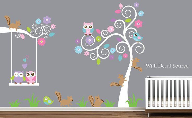 Nursery Wall Decal With Squirrels, Owls, Birds - Vinyl Sticker - Baby - Nursery. $86.00, via Etsy.