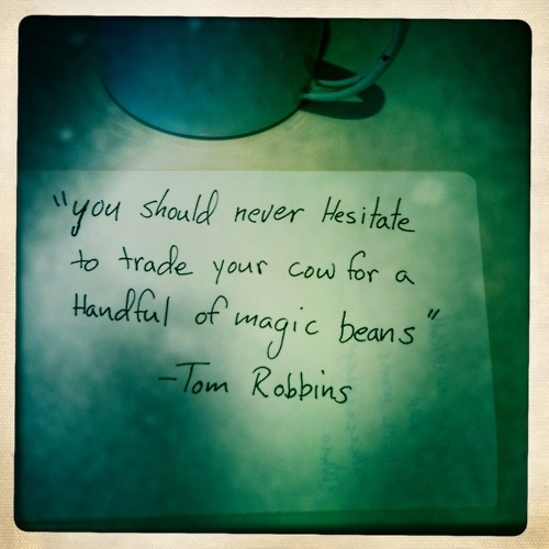 """You should never hesitate to trade your cow for a handful of magic beans."" - Tom Robbins [I like the way Tom thinks.]"