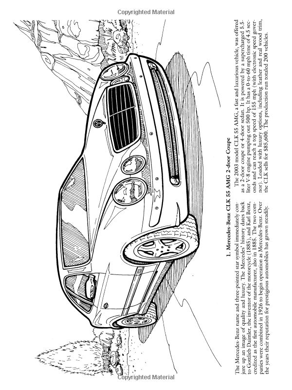 Luxury Cars Coloring Book Dover History Bruce LaFontaine