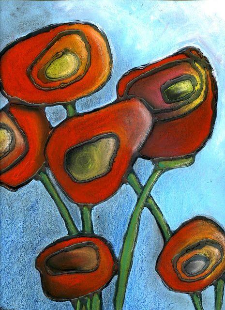 that artist woman: Chalk Pastel Poppies