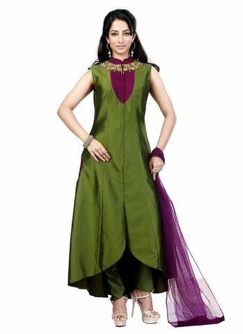 Olive Green & Lycra Achkan Style Salwar Kameez ,Indian Dresses