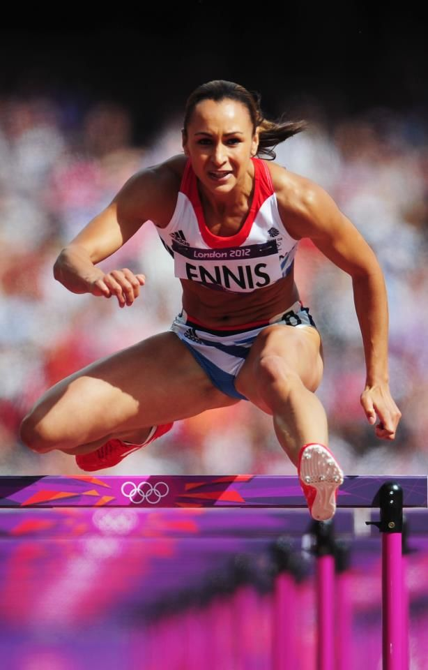 Jessica Ennis FLYING through the Women's Heptathlon 100m Hurdles setting a world record at 12.54 seconds.