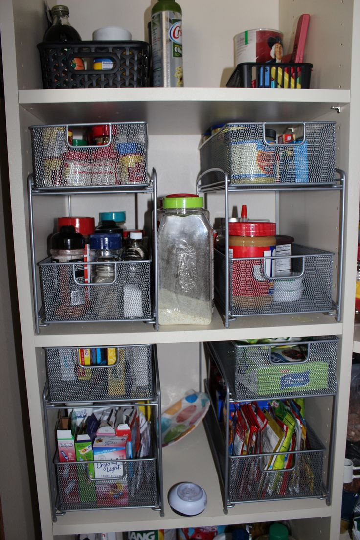 Organizers from Bed Bath and Beyond worked great for those pantry shelves that are too high and deep.