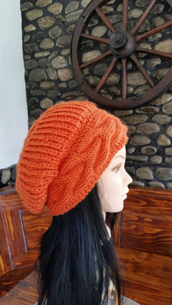 Check out this item in my Etsy shop https://www.etsy.com/listing/258892751/women-orange-cable-knit-hat-winter-cable