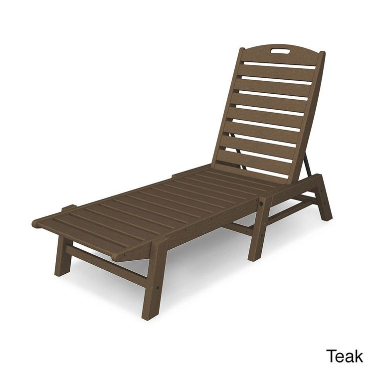 Polywood Nautical Chaise - Stackable (Teak), Brown, Patio Furniture