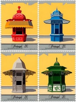Lisbon's Quiosques, stamps. Maluda