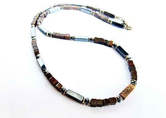 Beaded necklace for men tiger eye and hematite bead necklace black brown stones necklace gift for him mens jewelry gemstones brass necklace