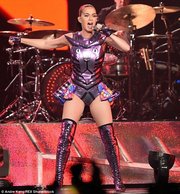 Roar-some! Katy purr-formed in a futuristic panther-themed peplum leotard at her San Juan, Puerto Rico, Prismatic world tour date