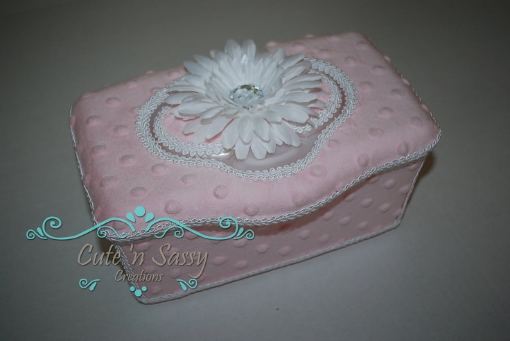Boutique Flip Top Baby Wipe Tub - Pink Minky Covered Nursery Wipes Box. $17.50, via Etsy.