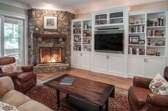 corner fireplace with built ins - Google Search: