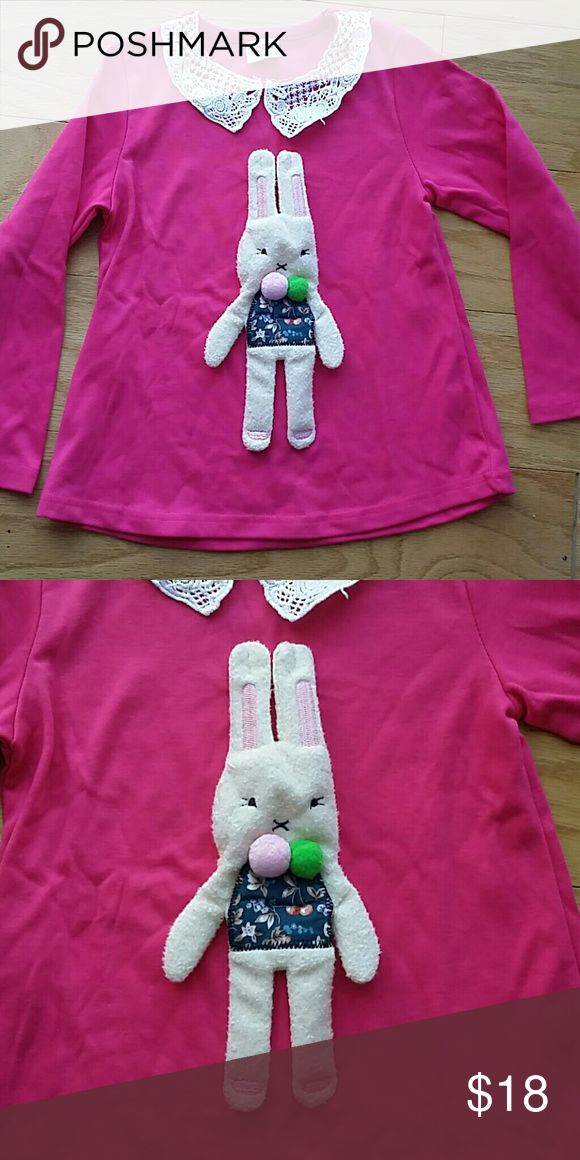 NWOT Hot Pink Bunny Top Adorable hot pink long sleeve top with a 3D bunny in front.  Very cute item  This item is brand new and never used Shirts & Tops Tees - Long Sleeve