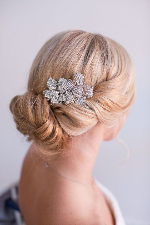 Yasmine,  Double Flower Rhinestone Brooch Comb, Bridal Hair Comb, Wedding Hair Accessory, Hair Adornment