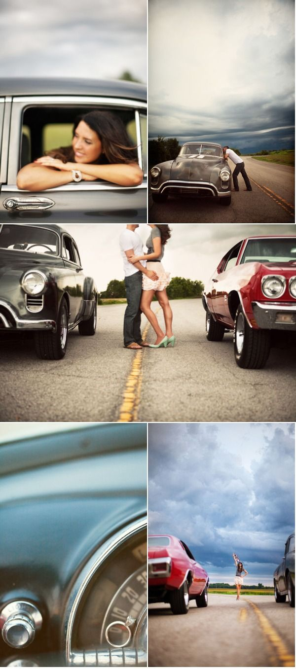 drag racing picture ideas for our engagements / save the date... LOVE THIS IDEA! especially if I had a nice car >:)